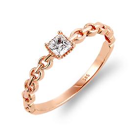 14K / 18Kキス有正方形链条戒指
